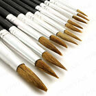 12 x EXTRA FINE POINTED ART BRUSH SET +THIN - THICK+ Bristle Detail Tip Painting
