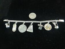 Vintage 1950s Mexican Sterling Silver Rosi Beguden Charm Bracelet 7""