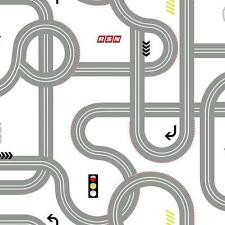 Disney Road / Roadway for Cars on White Sure Strip Wallpaper DS7663