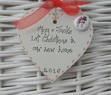 Personalised first/1st christmas in our new home tree decoration wooden heart 3""