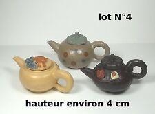 lot de 3 théières miniature en terre cuite ,collector,décoration vitrine lot 4