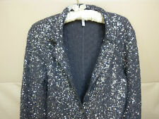 $498 TRENDY CHIC IISLI SILVER GRAY SEQUIN JACKET KNIT TOP BOLERO STYLE ICON