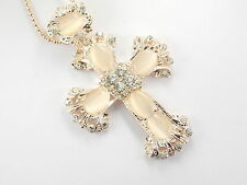 Betsey Johnson Rhinestone Opal Cross Pendant Necklace # F259