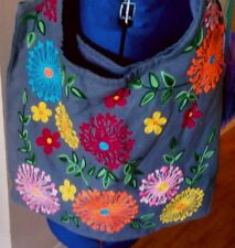 SALE! Urban Barn embroidered floral print large gray fabric bag tote purse
