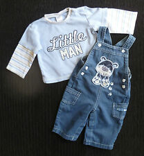 Baby clothes BOY 6-9m NEW! outfit denim dog dungarees/blue long sleeve top SHOP!