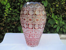 "VINTAGE BOHEMIA GOLD RUBY QUEEN LACE CUT 24% LEAD CRYSTAL JAR SHAPE VASE 12"" NIB"