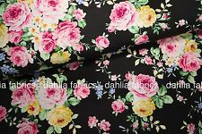 Quilt Gate Ruru Bouquet Tea Party Large Roses Black Japanese Fabric By The Yard