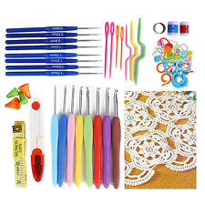 Set of 16 Multi Colour Soft Grip Handle Aluminum Crochet Hooks Knitting Needles