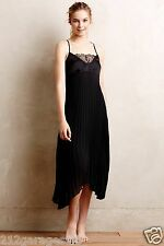 New Anthropologie Pleated Midi Chemise by Eloise Size Medium M Black