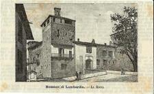 Stampa antica ROMANO di LOMBARDIA la Rocca Bergamo 1891 Old antique print