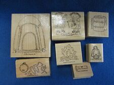 Stampin' Up  Campout Set of7 Tent Fire Children S'mores Sleeping Bag Flashlight