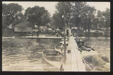 RP Postcard PELICAN RAPIDS MN  Outlook Beach Tourist Resort Boat Dock 1940's