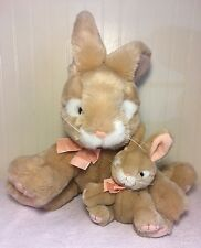 """Plush Rabbit Russ Berrie Apricot + Baby Honey Bunny Animal Easter 16"""" With Tags"""