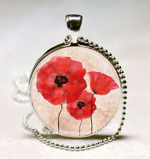 Vintage Red flower Cabochon Glass Necklace Pendant with Ball Chain Necklace A93