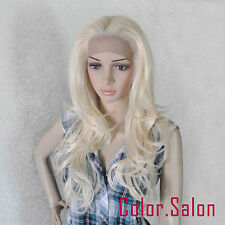 Hand Tied Lace Front Full Wigs Glueless Synthétique Perruque Blond 92#613