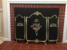 Vintage/Antique? French Rococo Mid Century Solid Brass Fireplace Screen & Fender