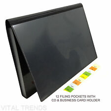 A4 EXPANDING FILE FOLDER WITH CD & BUSINESS CARD HOLDER 12 FILING POCKETS
