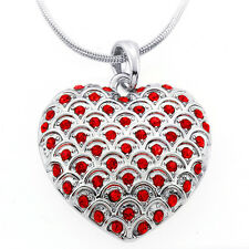 """Silver and Red Color Heart Shape Charm Pendant with Red Crystals and 16"""" Chain"""