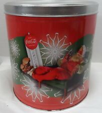2008 Coca Cola Popcorn Tin Can with Santa Claus and Vintage Thermometer