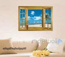 Window View 3D Beach Wall Art Stickers Removable Decals Home Decor kids