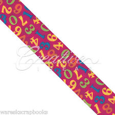 """10 Yards Hot Pink Double Face Satin Numeric Print Ribbon 1-1/2"""" Wide"""