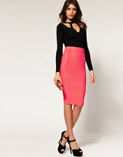 NWT ASOS Bright Pink Sequin High Waist Midi Bodycon Pencil Skirt S 6 UK 10