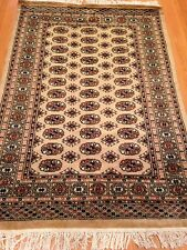 4x6 hand knotted oriental rug Beije 100% Wool Pile Bokhara Design.