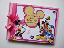 PERSONALISED MINNIE & FRIENDS GIRL /FIRST/1ST BIRTHDAY GUEST BOOK ANY DESIGN