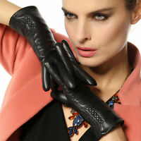 WARMEN Women Wrist Genuine Nappa Leather Winter Warm Long Fleece Lined Gloves