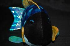"Webkinz No code Ganz lil' Kinz Blue Triggerfish Blue Yellow 8"" Plush Stuffed Toy"