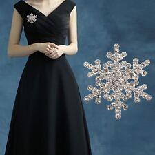 Silver Pearl Snowflake Diamante Brooch Rhinestone Crystal Broach Pin Xmas Gift