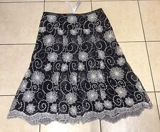 BNWT PER UNA BLACK/WHITE EMBROIDERED CALF LENGTH SKIRT - SIZE 14 (RRP £36)