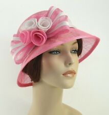 New Woman Church Derby Wedding Sinamay Ascot Cloche Dress Hat SDL-001 Pink