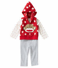 Baby Starters SIZE  6 Months Girl Sock Monkey Outfit 3 piece with hooded vest