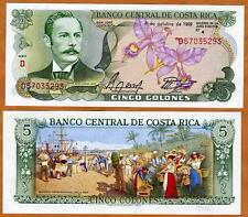 Costa Rica, 5 Colones, 1989, Pick 236d, UNC -  colorful