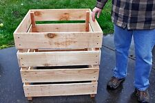 Cedar Wood Compost Bin Stackable. Easy To Turn Over Fluff Compost  Free Shipping