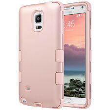 Rose Gold Shockproof Hybrid Rubber Hard Case Cover for Samsung Galaxy Note 4