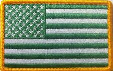 United States USA Flag Embroidery Iron-On Patch  Green & White Colors