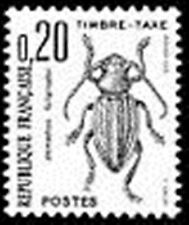 """FRANCE STAMP TIMBRE TAXE N° 104 """" INSECTES , COLEOPTERES 20c."""" NEUF xx TTB"""