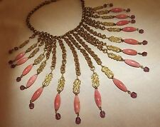 ANTIQUE Early BIB NECKLACE Coral Amethyst Glass Beads VINTAGE