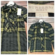 Burberry Top Blouse Shirt Olive Green Ruffles Bow Size UK 6 BNWT