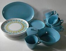 28 Pieces Vintage Allied Chemical Blue Melmac Dishes / Dinnerware