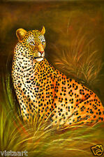 "Quality Oil Painting on Stretched Canvas 24""x 36""-Alert Cheetah"