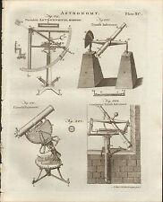 1797 GEORGIAN PRINT ~ ASTRONOMY QUADRANT TELESCOPE UNIVERSAL EQUATORIAL TRANSIT