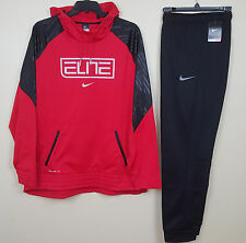 NIKE ELITE SUIT HOODIE + PANTS THERMA FIT OUTFIT RED BLACK RARE NWT (SIZE 2XL)