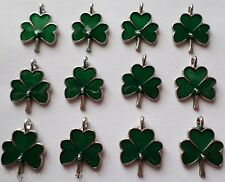 12 Enamel St Patricks Day Lucky Shamrock Clover Charms A7 ~ Quick Ship