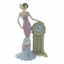 Juliana Vintage Rose Figurine - Lady Standing with Clock