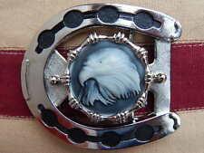 Nuevo hecho a mano en u.k.eagle cinturón Con Hebilla De Metal Plateado Herradura, Western, Cowboy