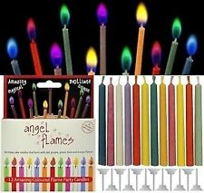 PACK OF 12 ANGEL FLAMES MULTI COLOURED BIRTHDAY CAKE PARTY MAGIC CANDLES