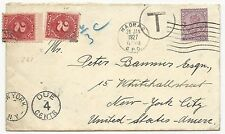 US Postage Due on Cover From Two Annas India to New York City Jan 28, 1927